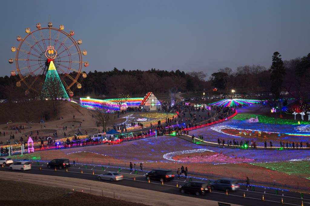 東京ドイツ村のイルミネーション。展望デッキからの眺め。