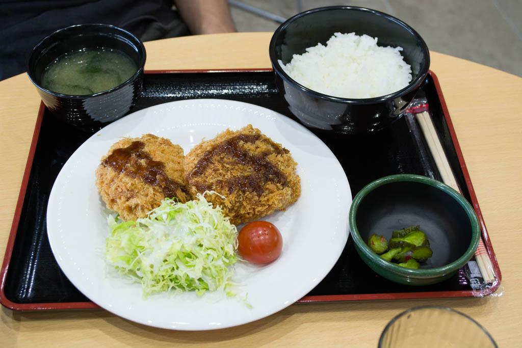 かわプラザ 瑞穂牛メンチカツ&コロッケ定食(600円)